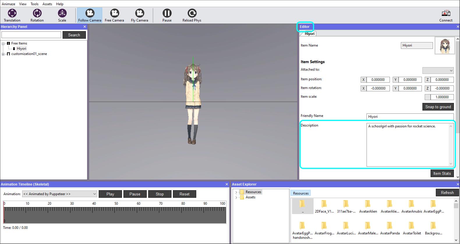 Change the avatar's Description