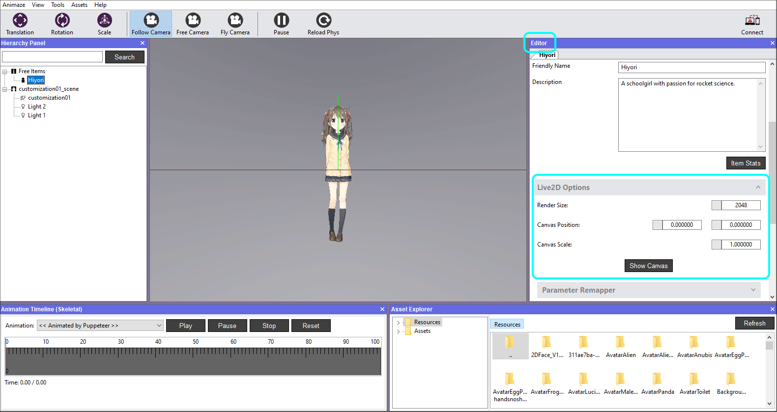 In the Editor Panel scroll down to the Live2D Options and click on it to expand the tab