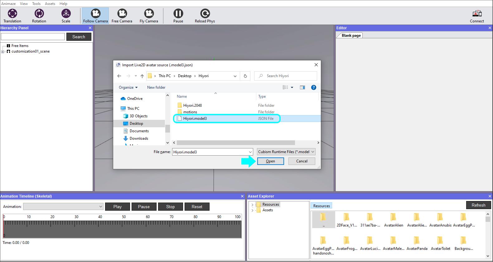 Animaze Editor select json