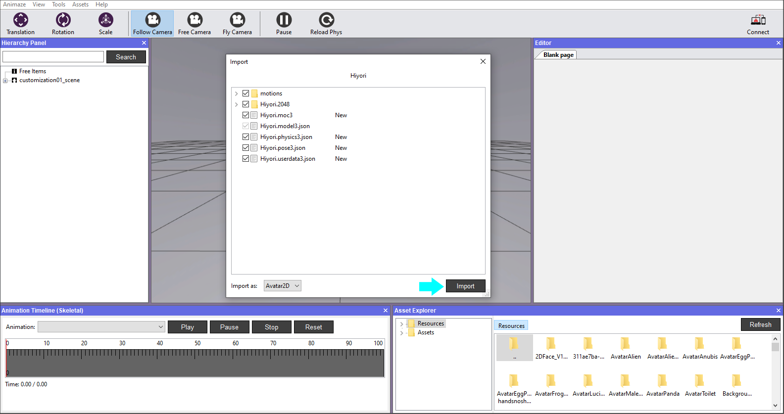 Animaze Editor Click these prompts to import your avatar
