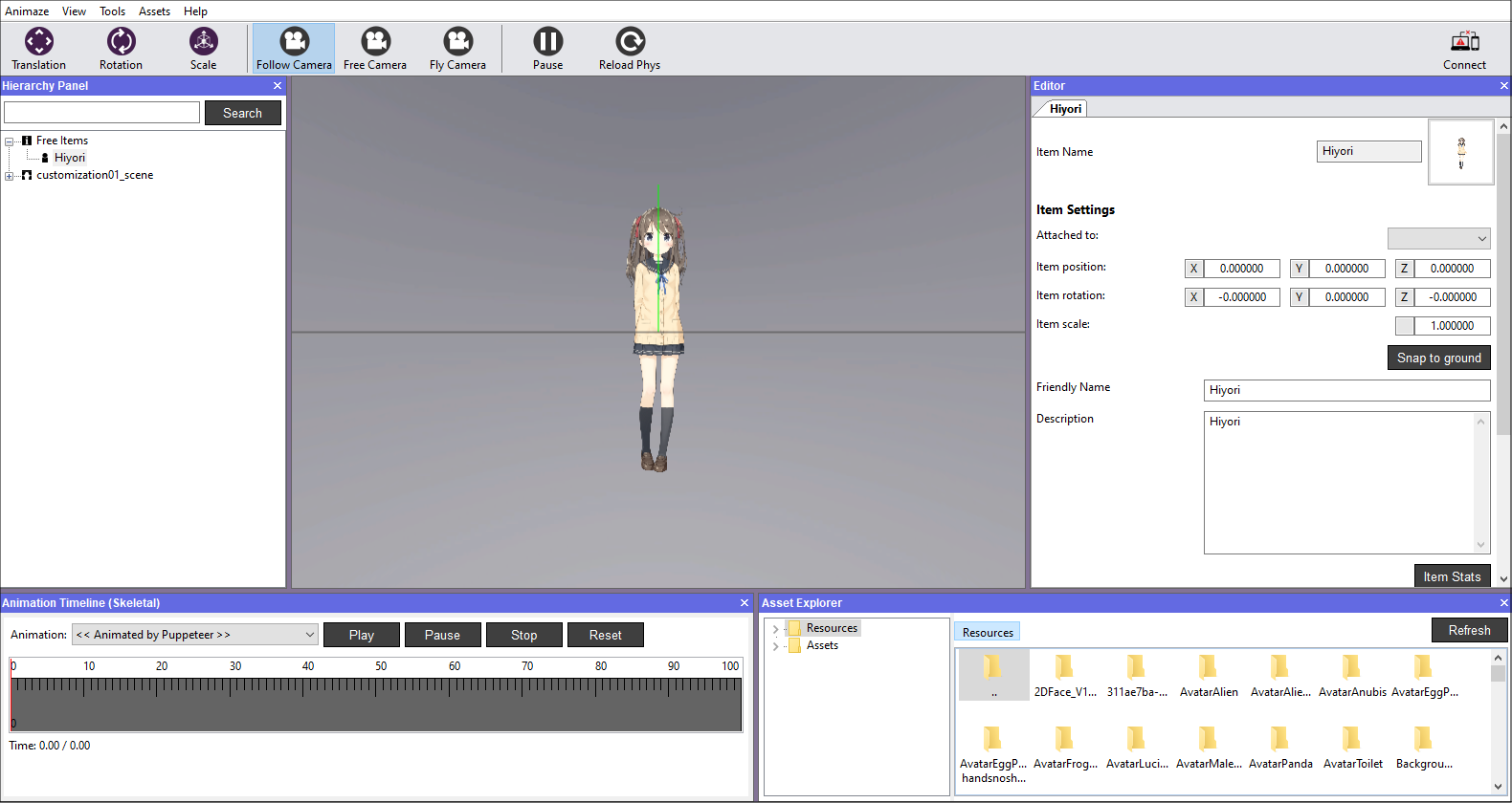 Once the avatar is imported, it will be displayed in the viewport.