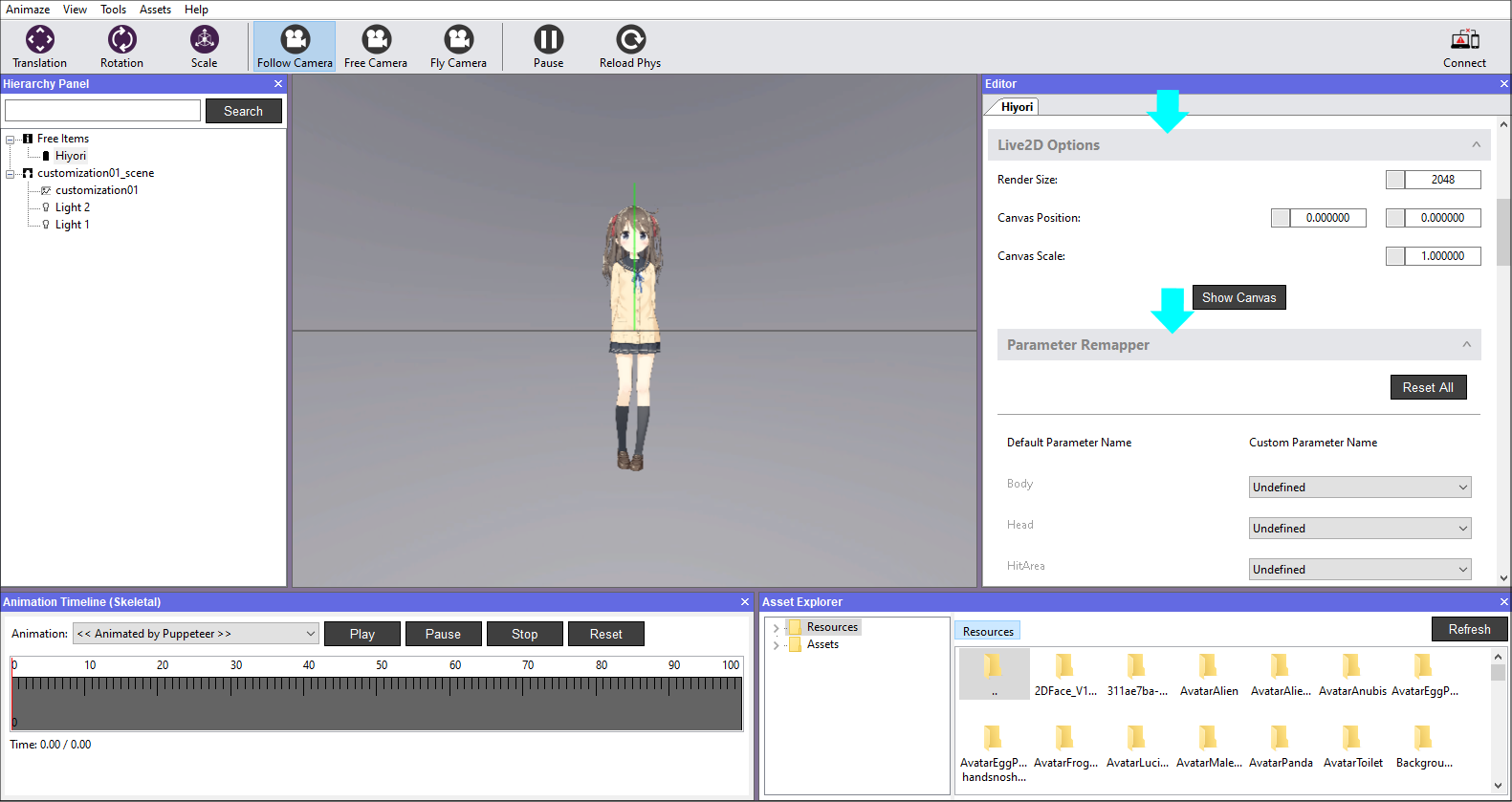 In Editor Panel scroll down to find and expand the Live2D Options