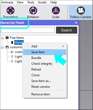 Once you're done with animation input remappings, you'll need to save the item for the changes to remain persistent.