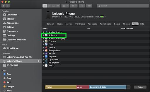 Mac Finder - Send to Animaze app